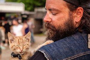 Biker rettet verletztes Kätzchen und nimmt es mit auf Reisen