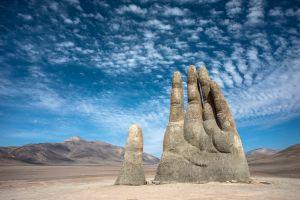 Giant hand sculpture Atacama Desert Chile