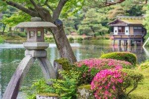 Kenrokuen Garten ein farbenfroh Naturspiel