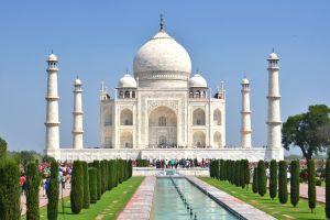 Le Taj Mahal prend des couleurs verdâtres et jaunâtres