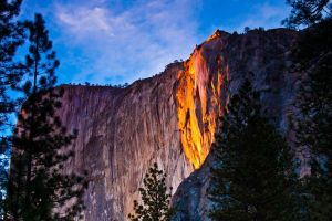 Waterfall on fire returns to Yosemite National Park