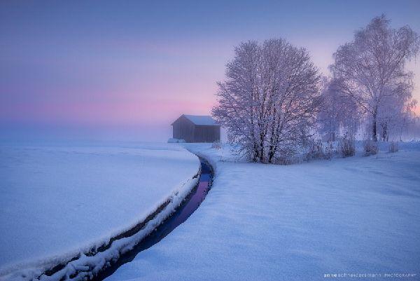 Paysage d'hiver en Bavière