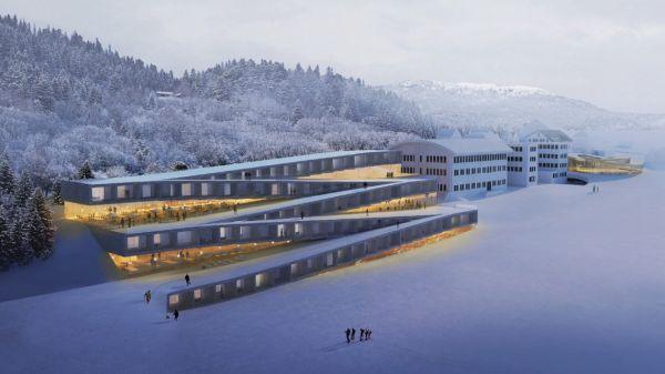 Un hôtel en Suisse dévoile une piste de ski en zigzag sur son toit !