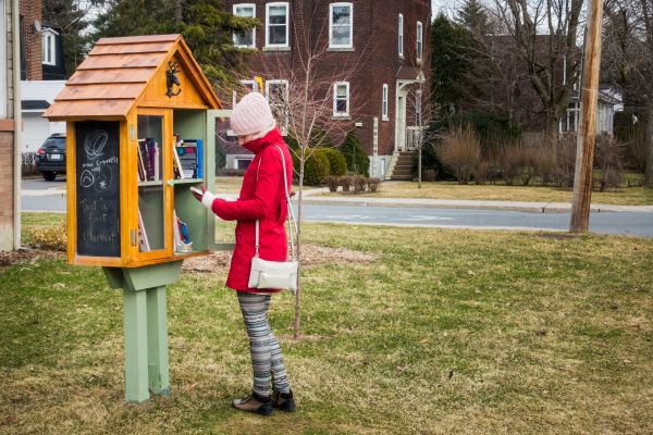 Un'artista statunitense ha trasformato un tronco d'albero in una piccola biblioteca