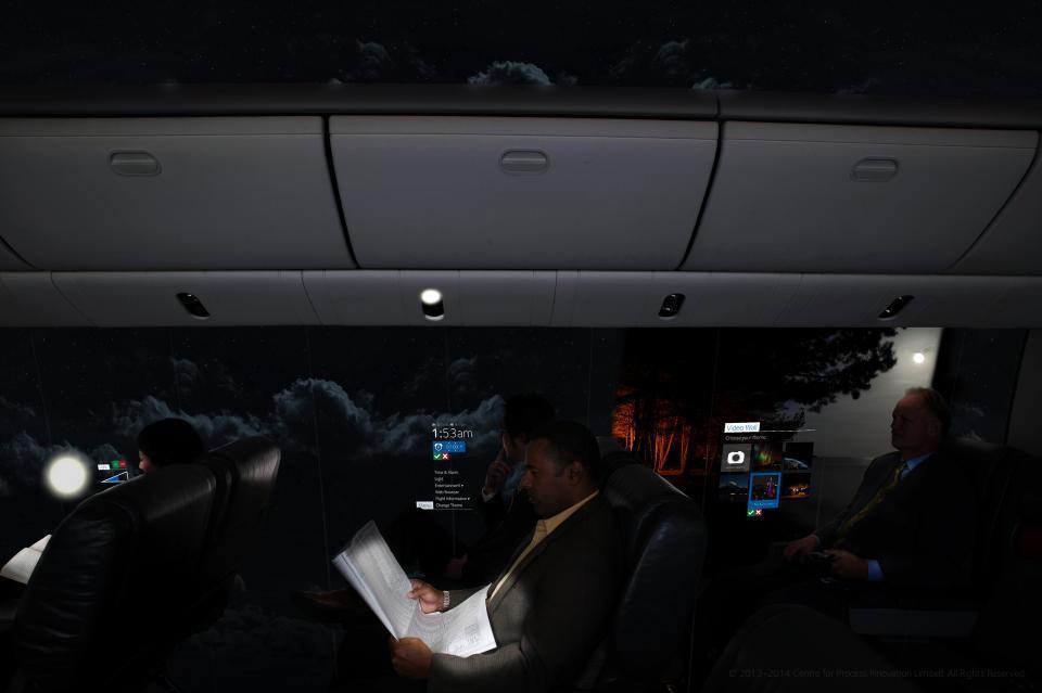 Windowless plane in darkness