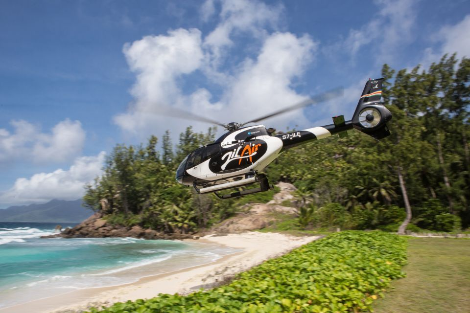 Guests are transported to the island by helicopter