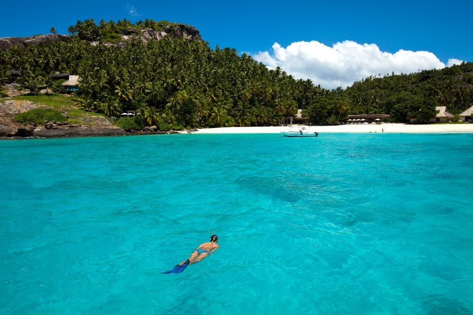 The clear waters of the Indian Ocean are perfect for snorkelling