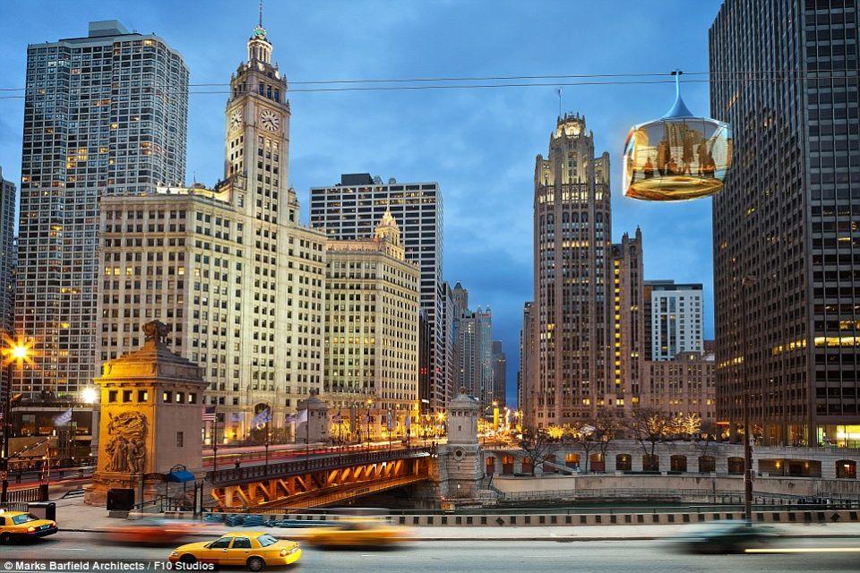 Des cabines de verre dans la skyline de Chicago