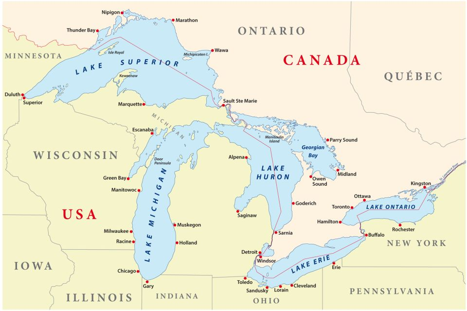 Map Of Canada 5 Great Lakes.A Photo Guide To All That S Great About The Great Lakes Easyvoyage