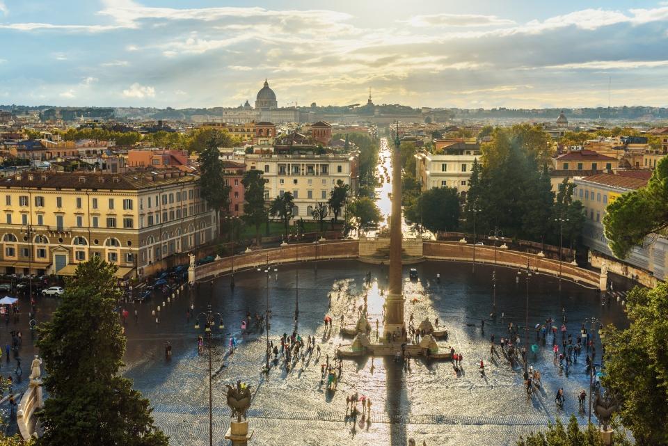 La vista di Roma dalla terrazza del Pincio