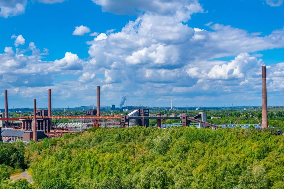 Vue aérienne de la mine de charbon Zollverein à Essen