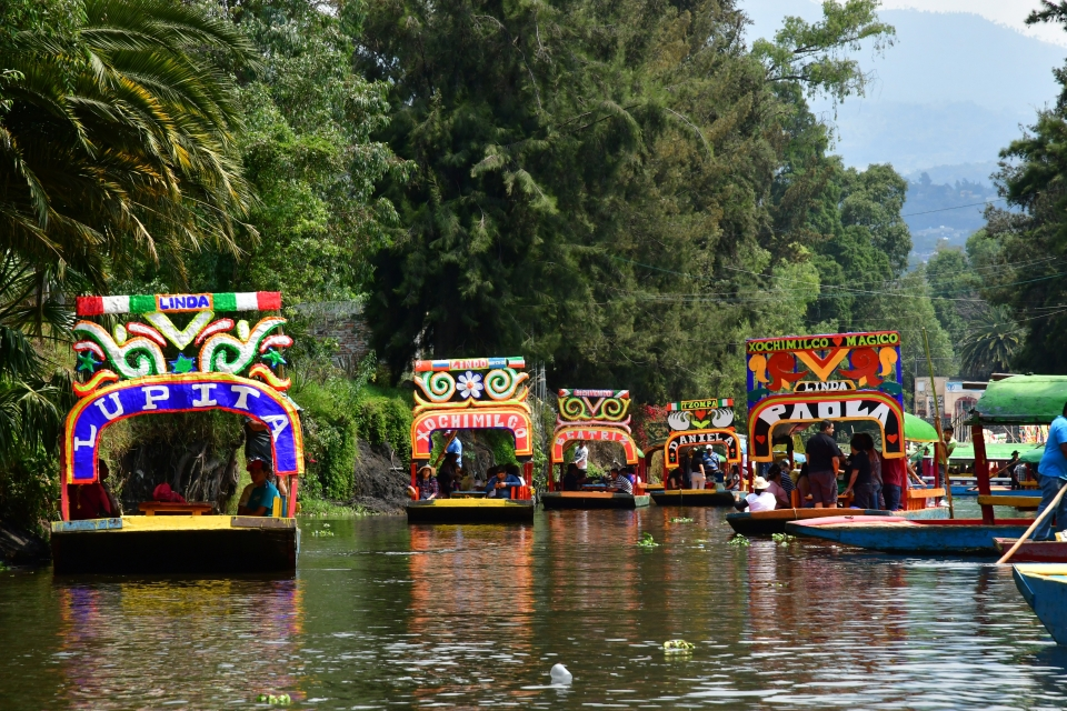 The Trajineras in Xochimilco