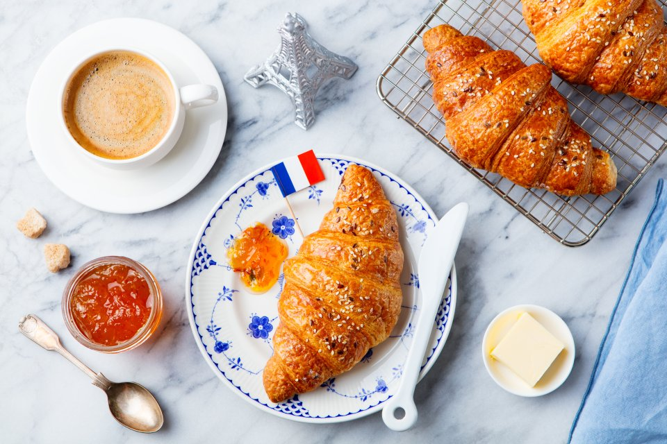 France: coffee and croissant