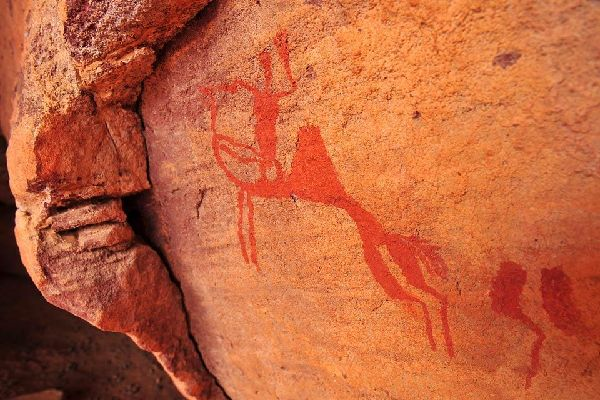 Ajjer's cave paintings. , Algeria