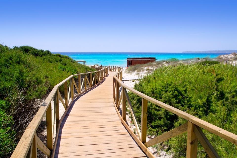 Formentera , Camino a la playa en la Isla de Formentera , España