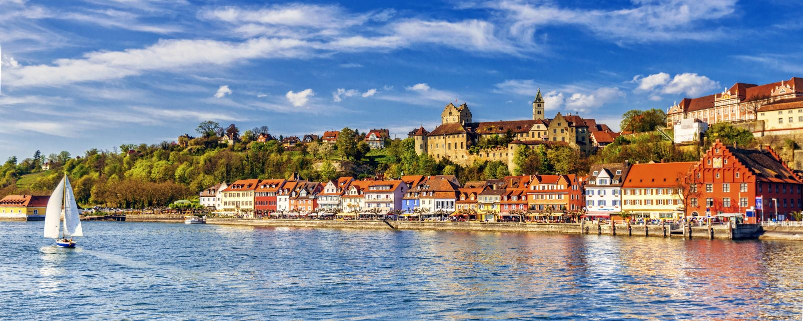 Allemagne, Bodensee, Constance, lac, Meersburg, voile, voilier, Bade-Wurtemberg, chateau.