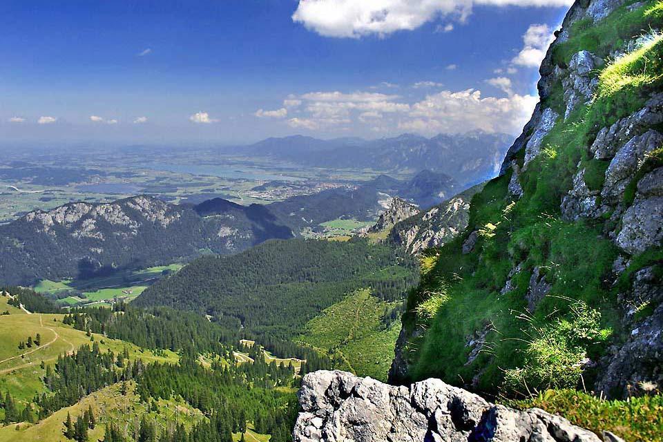 La Strada delle Alpi tedesche , Paesaggio montuoso sulla strada delle Alpi , Germania