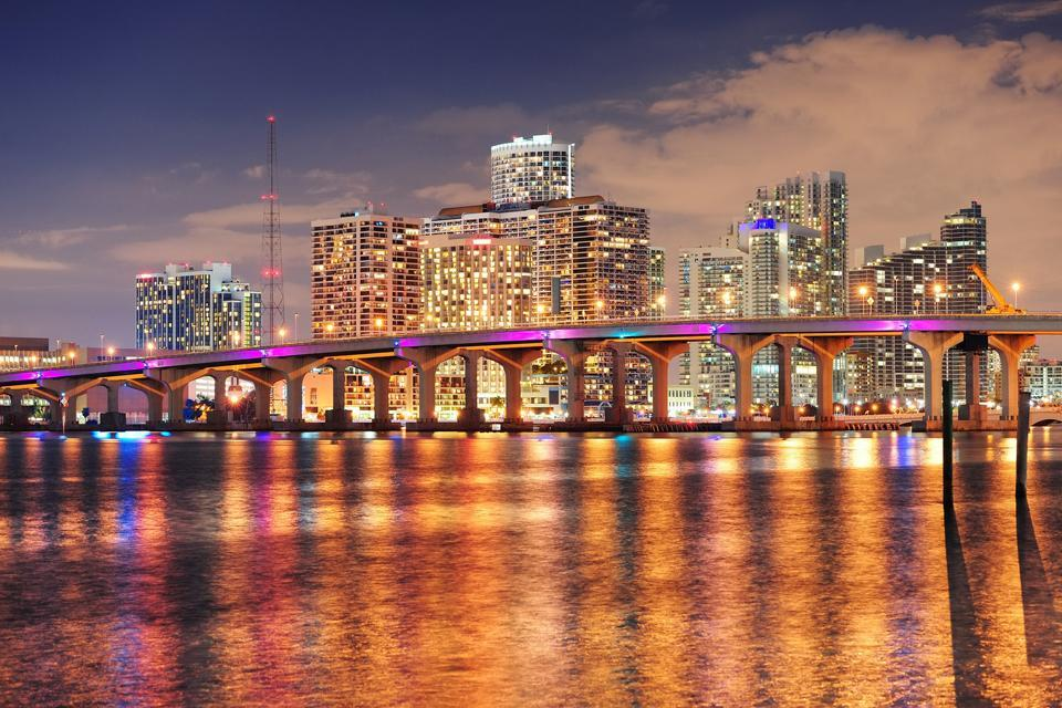 About town in Downtown Miami , Miami by night , United States of America