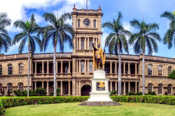 Les arts et la culture, King Kamehameha, USA, etats-unis, amérique, Hilo, roi, hawai, lolani palace, lolani, statue