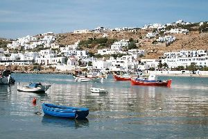 Naxos , Maisons blanchies à la chaux , Grèce
