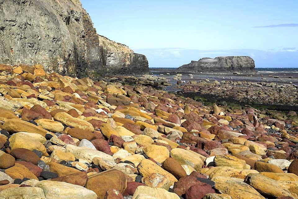 La costa dello Yorkshire , Saltwick Nab nello Yorkshire del Nord , Regno Unito
