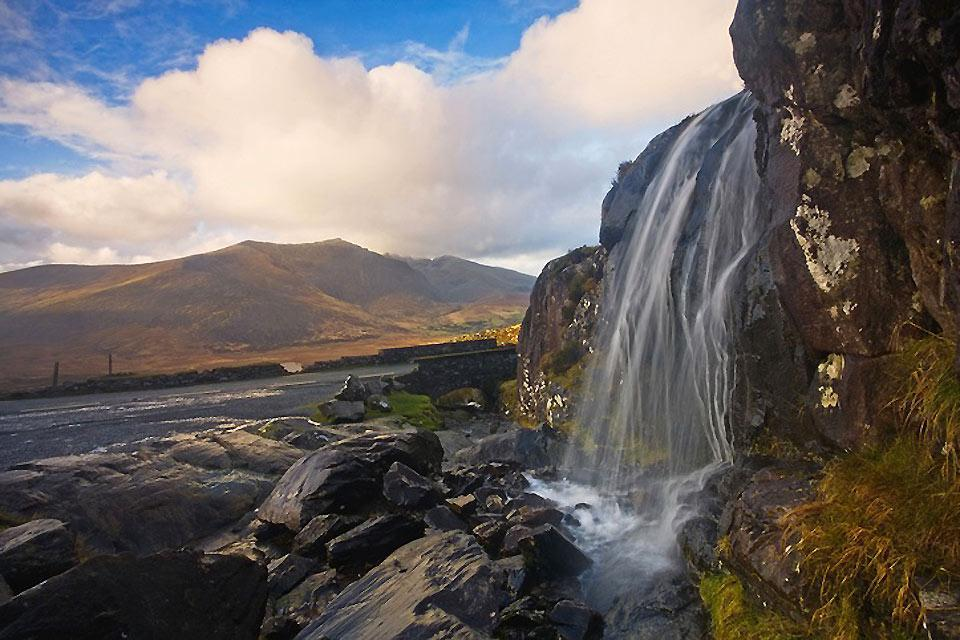 The red sandstone mountains. , Waterfalls in Kerry , Ireland