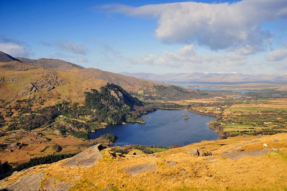 The red sandstone mountains. , The lakes, Kerry , Ireland