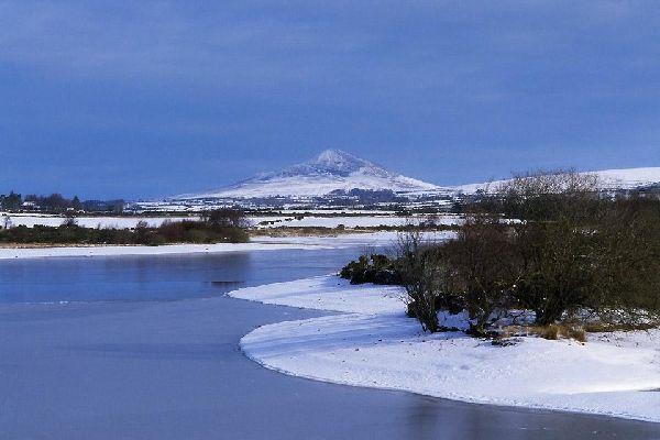 Das Granitgebirge von Wicklow , Verschneite Landschaft , Irland