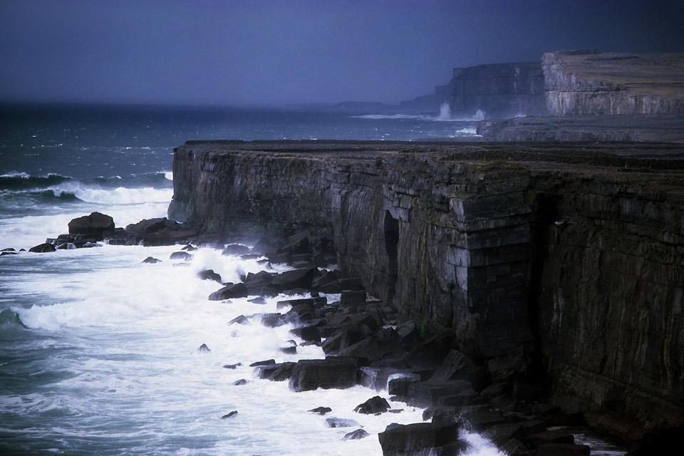 The archipelagos of the Atlantic coast. , Cliffs in the Aran Islands , Ireland