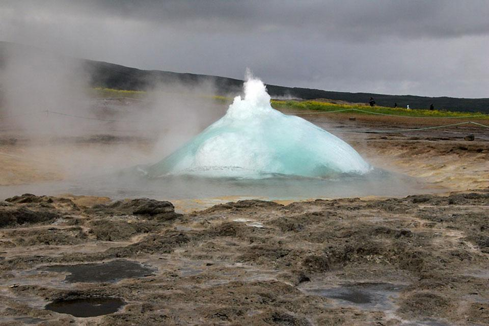 Geysers from Geysir , The Strokkur geyser , Iceland