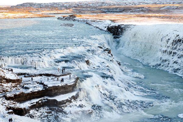 Les chutes d'eau de Gullfoss , La rivière Hvítá , Islande