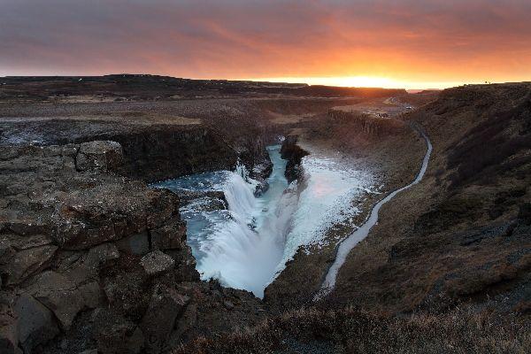 Les chutes d'eau de Gullfoss , Le cercle d'or , Islande