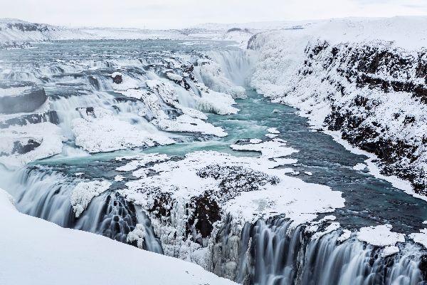 Les chutes d'eau de Gullfoss , Gullfoss en hiver , Islande