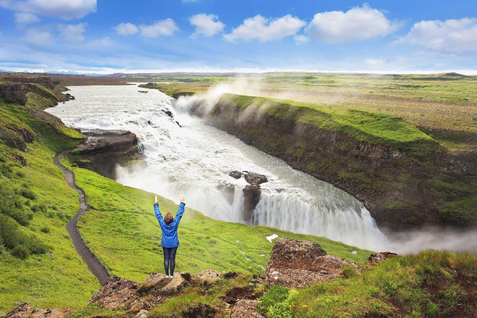 Der Gullfoss , Wasserfall , Der Gullfoss-Wasserfall , Island