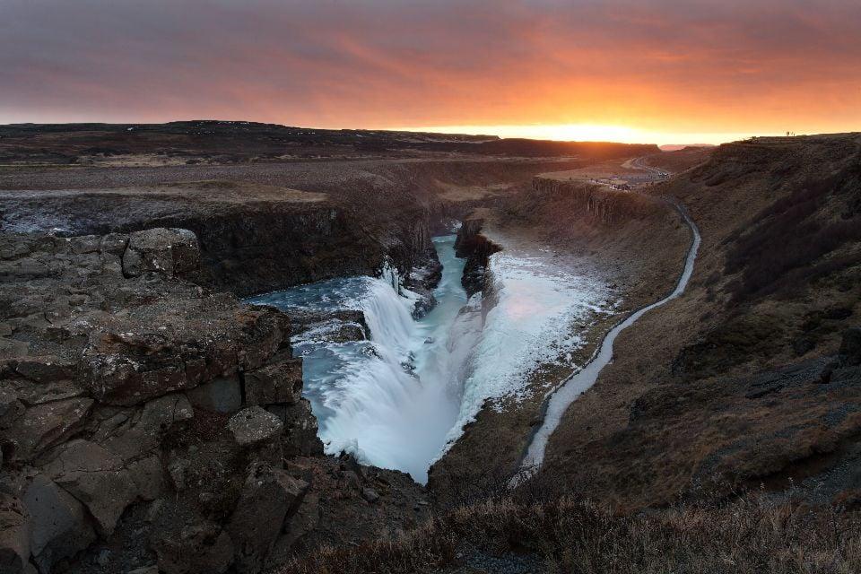 Der Gullfoss , Wasserfall , Der Goldene Ring , Island