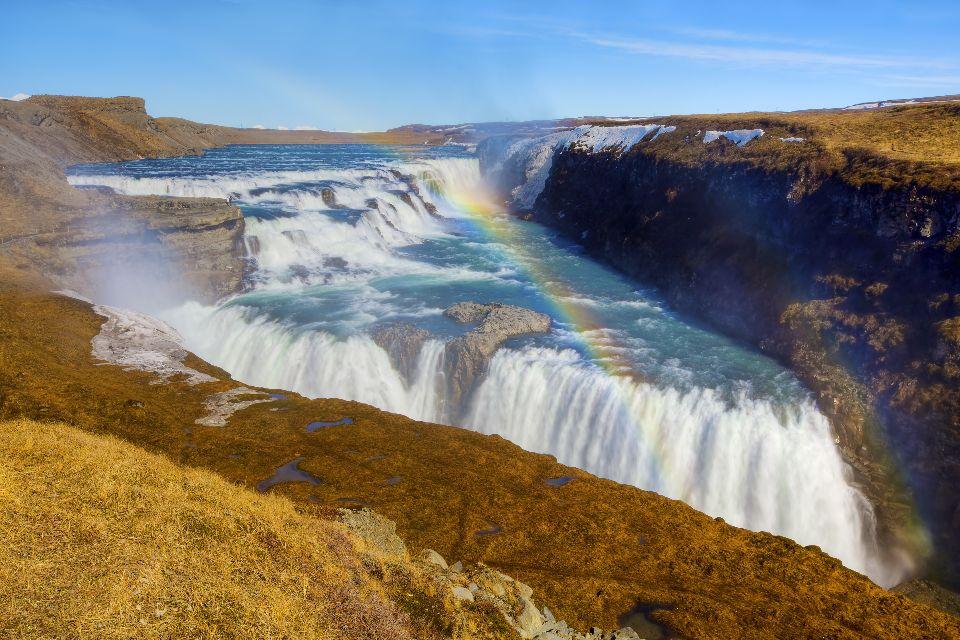 Der Gullfoss , Wasserfall , Der Goldene Wasserfall , Island