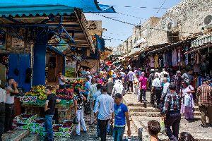 El barrio musulmán del casco antiguo , El casco antiguo, Jerusalén , Israel
