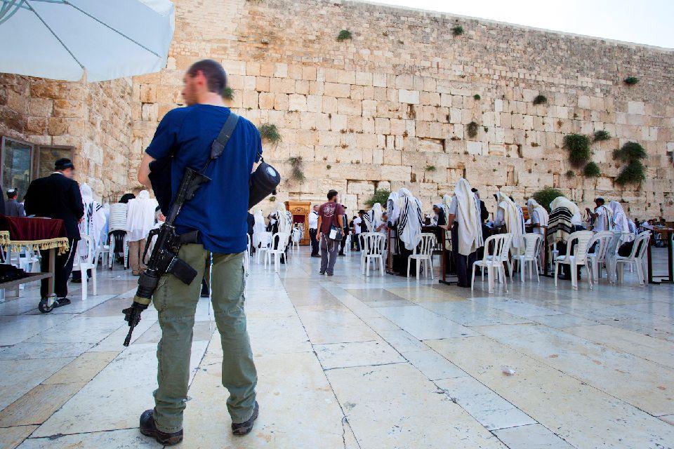 JERUSALEM-Le Mur des lamentations , Militaire au Mur des Lamentations , Israël