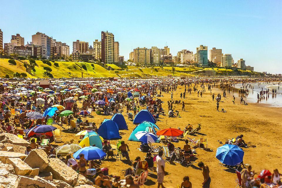 Mar del Plata , Tourists on the beach in Mar del Plata , Argentina
