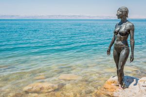 Il Mar Morto , Formazioni di sale cristallizzato, Giordania , Giordania