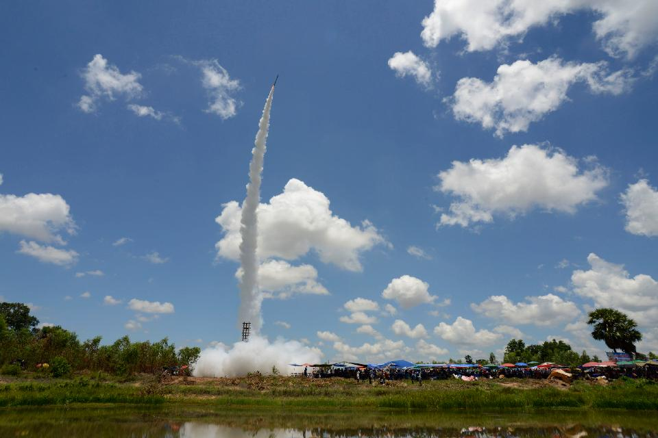 Bun Bang Fai oder Fest der Raketen , Bun Bang Fai oder Raketenfest , Laos