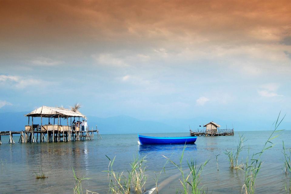 Le lac de Prespa , Macédoine
