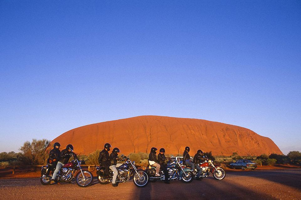 The Red Centre, Ayers Rock, the Northern territory , Bikers in front of Ayers Rock, Australia , Australia