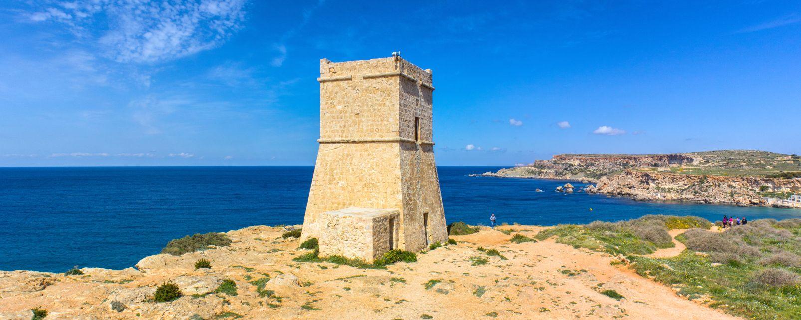 Les paysages, malte, méditerranée, europe, tour, côte, mer, guêt