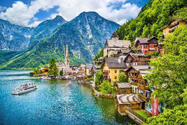 The village of Hallstatt , Austria