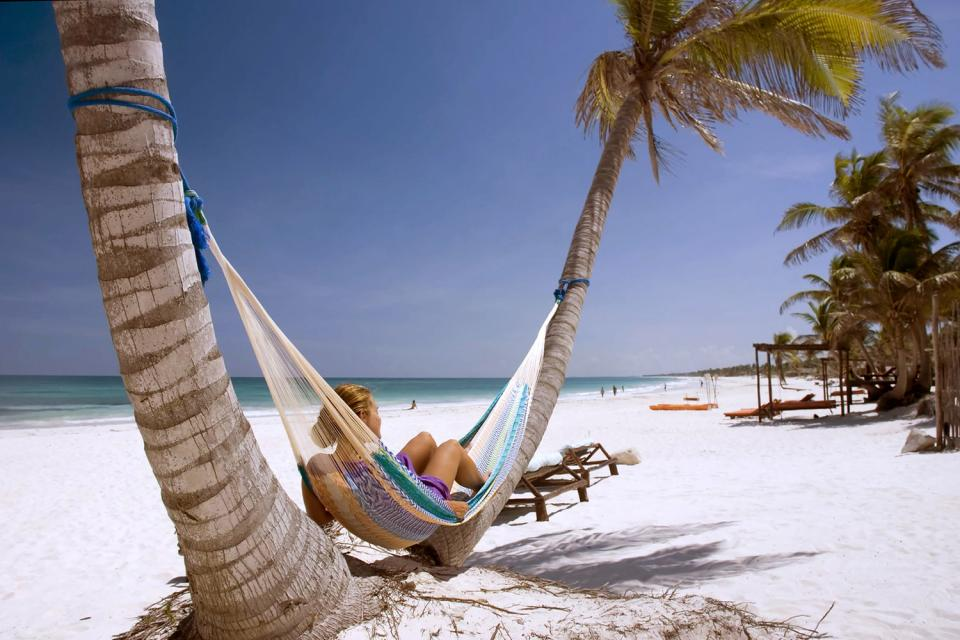 The white sand beaches and the turquoise sea , Mexico