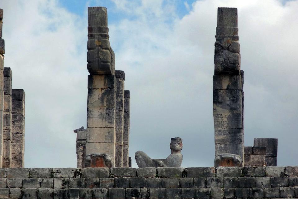 I siti archeologici di Chichen Itzá , Chac Mool, Messico , Messico