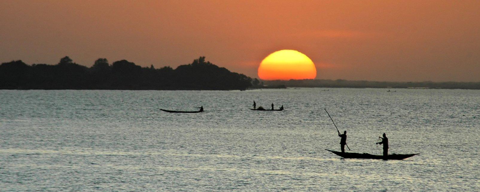 Les paysages, fleuve, niger, afrique, pêche, soleil