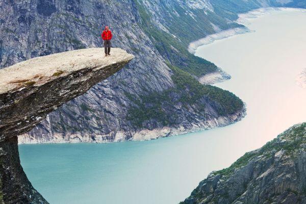 Paisaje de los fiordos visto desde el cielo, Los fiordos, Las costas, Oslo, Noruega