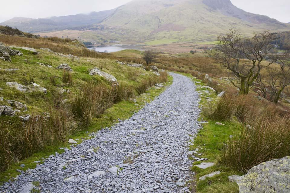 Il Wild Wales , sentiero montuoso a Snowdonia, Galles , Regno Unito